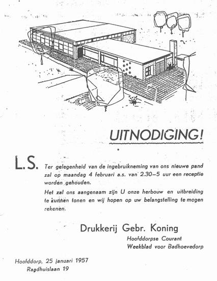 Raadhuislaan 0019 1957 Nieuwe pand Drukkerij Koning