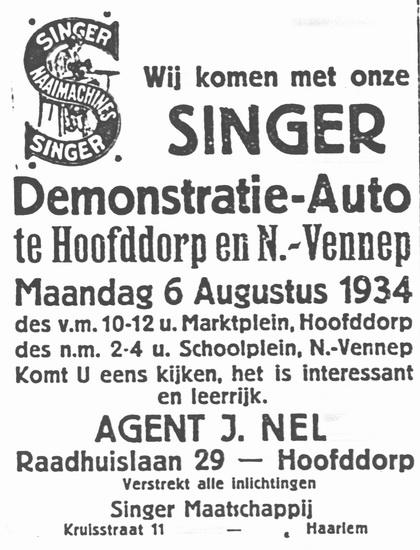 Raadhuislaan 0029 193408 Agent Singer Naaimachines J Nel