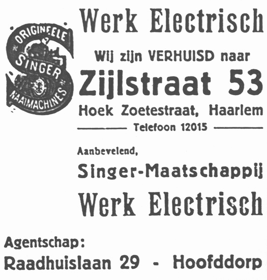 Raadhuislaan 0029 193411 Agent Singer Naaimachines