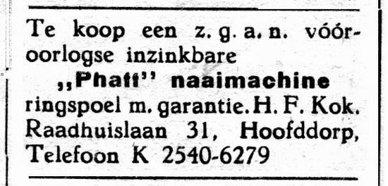 Raadhuislaan 0031 1950 Advert Naaimachine te Koop