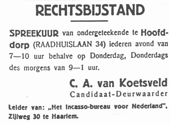 Raadhuislaan 0034 1934 Rechtsbijstand C A v Koetsveld