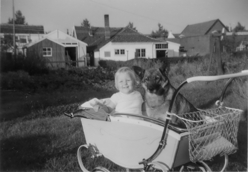 Tuinweg N 001_ 1959 met Dinemarie Uithol in Wandelwagen