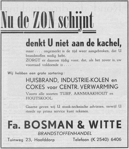 Tuinweg Z 0023 1955 Advertentie Fa Bosman en Witte