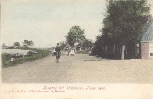 Vijfhuizerdijk 000003 1904 met Fietser Ingekleurd