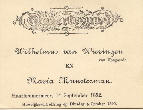 Wieringen W v 1892 Ondertrouw met Maria Munsterman