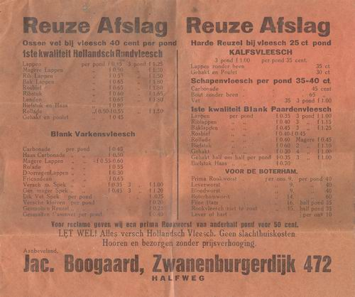 Zwanenburgerdijk 0472 1930 Reklame Slager Boogaard