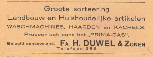 Duwel Fa H en Zonen 1938 Winkel Landbouw- en huishoudelijke Artikelen in Nieuw-Vennep