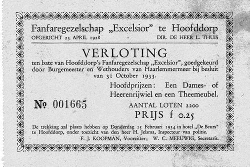 Fanfarekorps Excelsior 1934 Verloting Lot 1665
