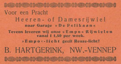 Hartgerink B 1938 Rijwielhandel in Nieuw-Vennep