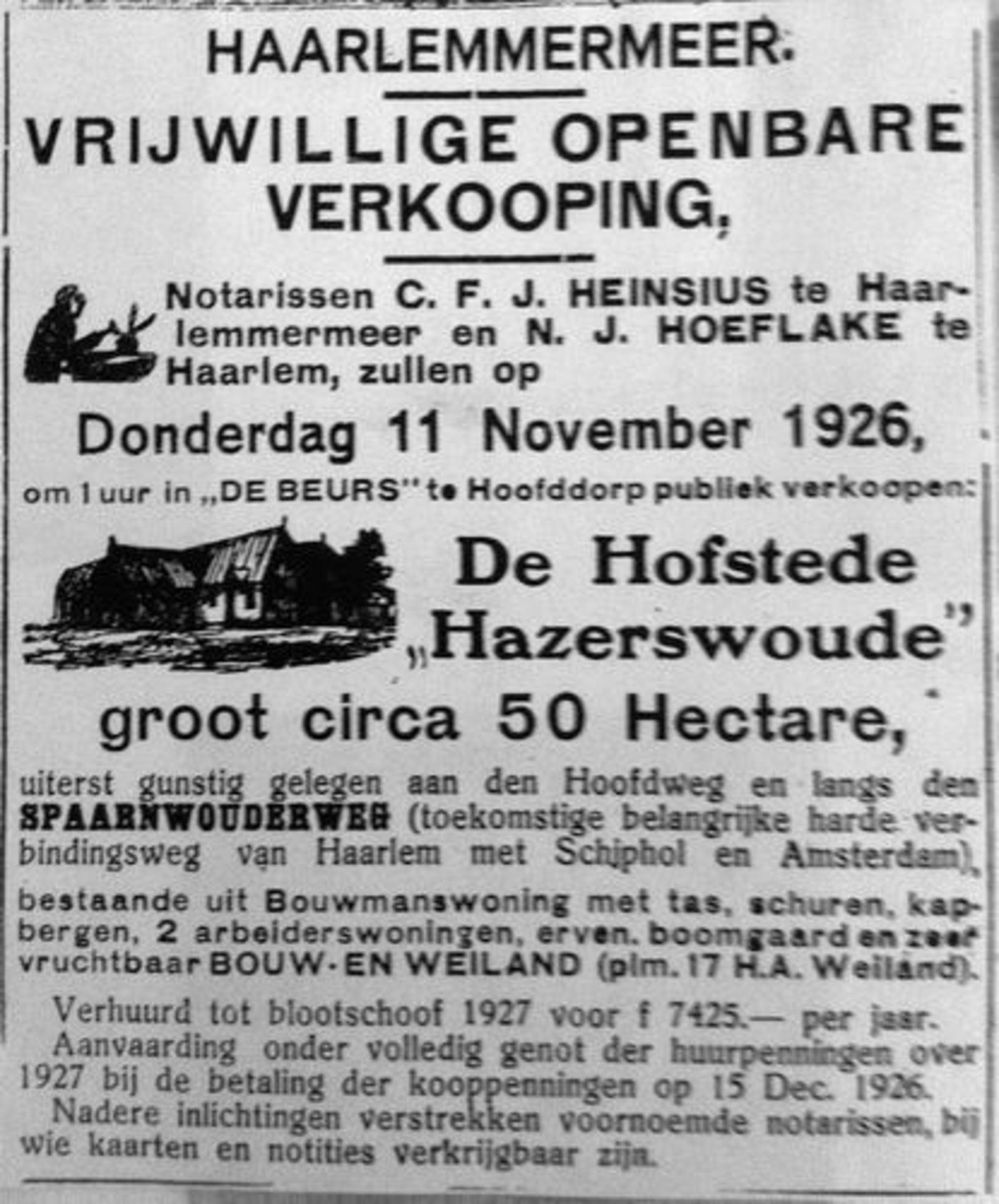Hoofdweg O 0152 1926 Hazerswoude in de Verkoop