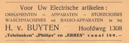 Hoofdweg O 1308 1938 Electricische Artikelen H v Buyten