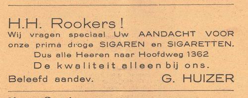 Hoofdweg O 1362 1938 G Huizer Tabakshandel