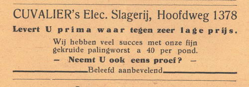 Hoofdweg O 1378 1938 Cuvelier Slagerij