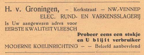 Kerkstraat 0000 1938 Slagerij H v Groningen