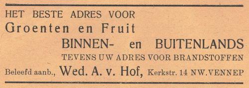 Kerkstraat N 0014 1938 Groenteboer Wed A v Hof