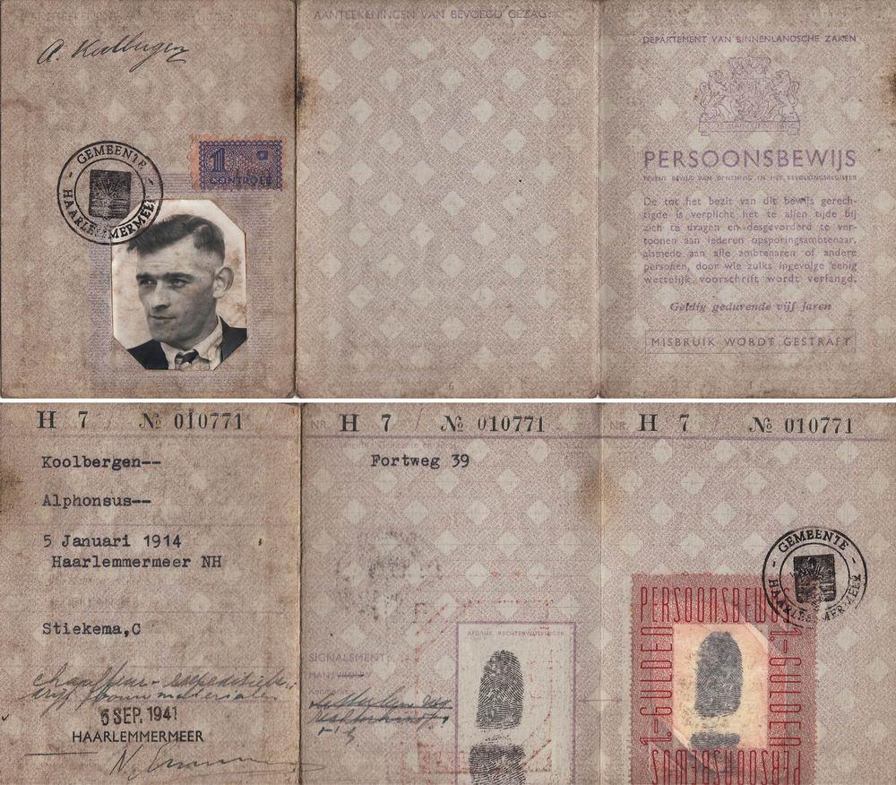Koolbergen Fons 1914 1941 Persoonsbewijs