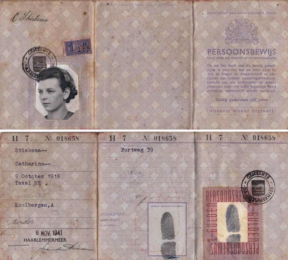 Koolbergen-Stiekema Tinie 1916 1941 Persoonsbewijs