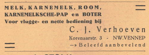 Korenaarstraat 0003 1938 Melkboer C J Verhoeven