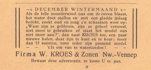 Kroes Firma W en Zonen 1938 Schaatsenverkoop in Nieuw-Vennep