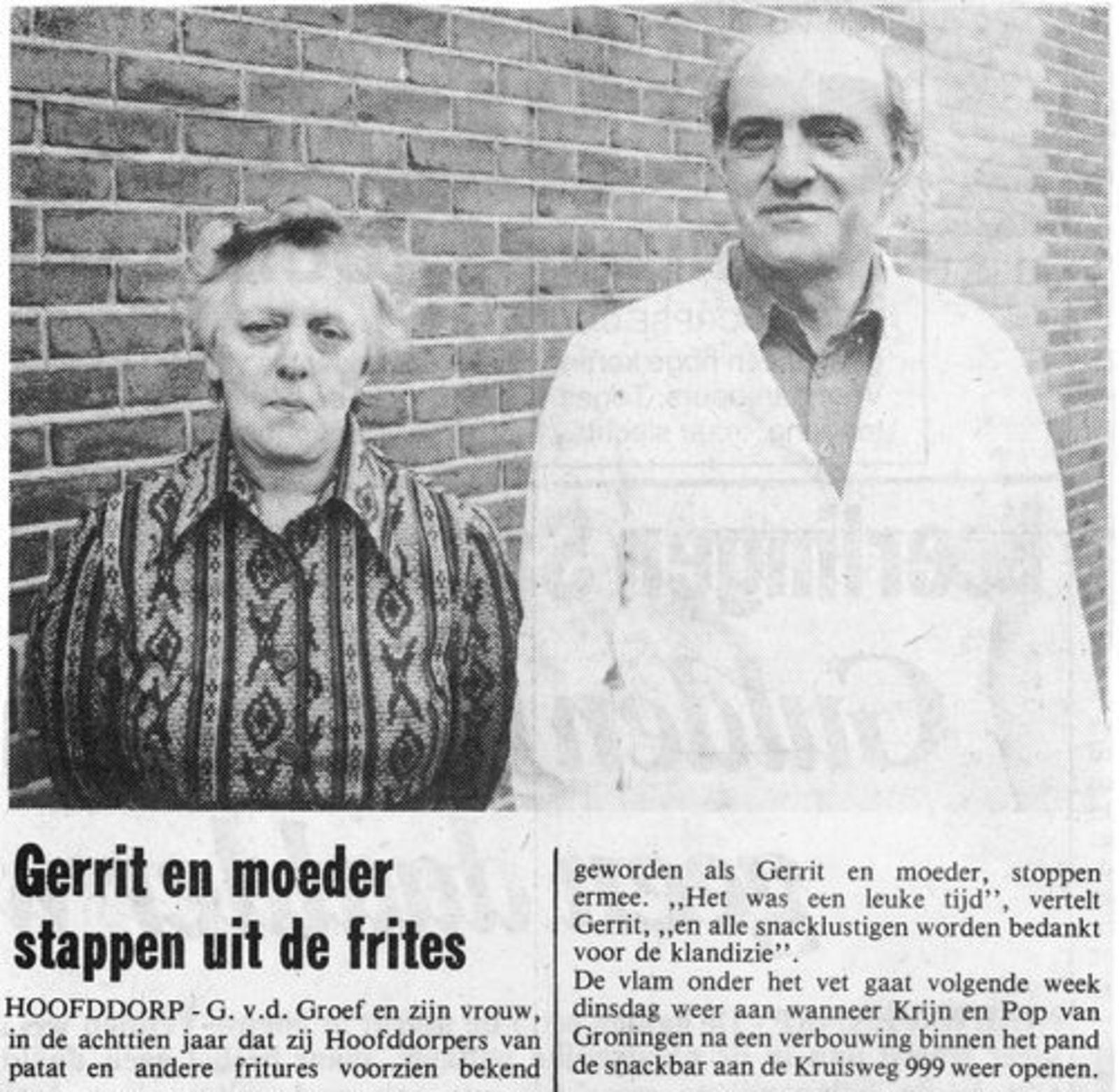 Kruisweg N 0999 1978 Snackbar vd Groef Stopt