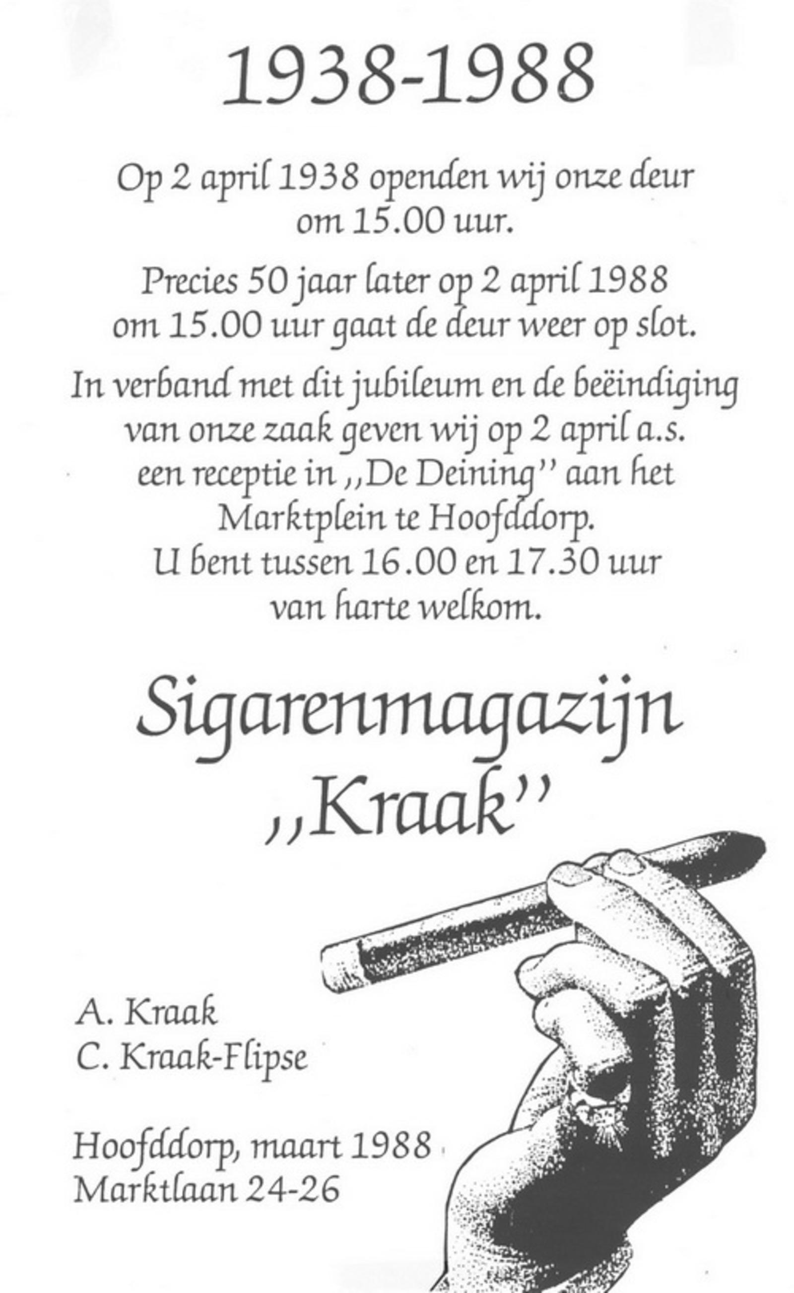 Marktlaan O 0022 1988 Sigarenboer Kraak 50jr Jub en Sluiting 04