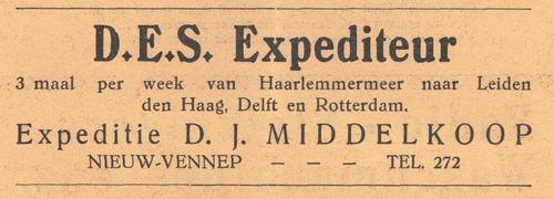 Middelkoop D J 1938 Expediteur in Nieuw-Vennep