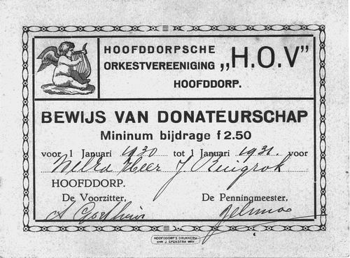 Orkestvereniging HOV Hoofddorp 1931 Kwitantie Donatie J W Ruijgrok