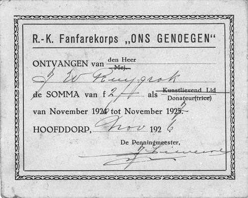 RK Fanfarekorps Ons Genoegen Hoofddorp 1926 Kwitantie Donatie J W Ruijgrok