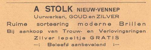 Stolk A 1938 Juwelier in Nieuw-Vennep