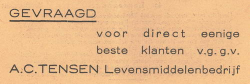 Tensen A C 1938 Levensmiddelenbedrijf in Nieuw-Vennep