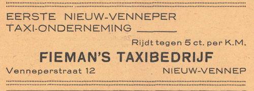 Venneperstraat 0012 1938 Fieman Taxibedrijf