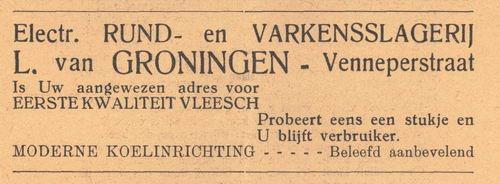 Venneperstraat 0023 1938 Slagerij L v Groningen