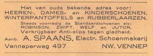 Venneperweg N 0497 1938 Schoenmaker A Spaans