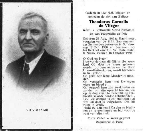 Vlieger Theodorus C 1866 1950 Bidprentje