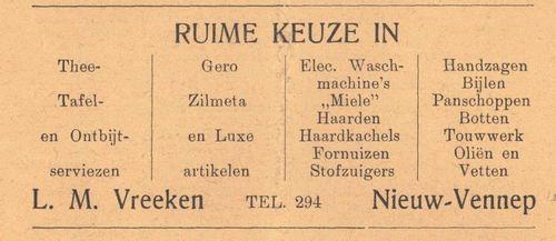 Vreeken L M 1938 Winkel Huishoudelijke Artikelen in Nieuw-Vennep