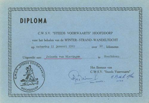 Wandelsportvereniging Steeds Voorwaats 1969 Diploma Wandeltocht