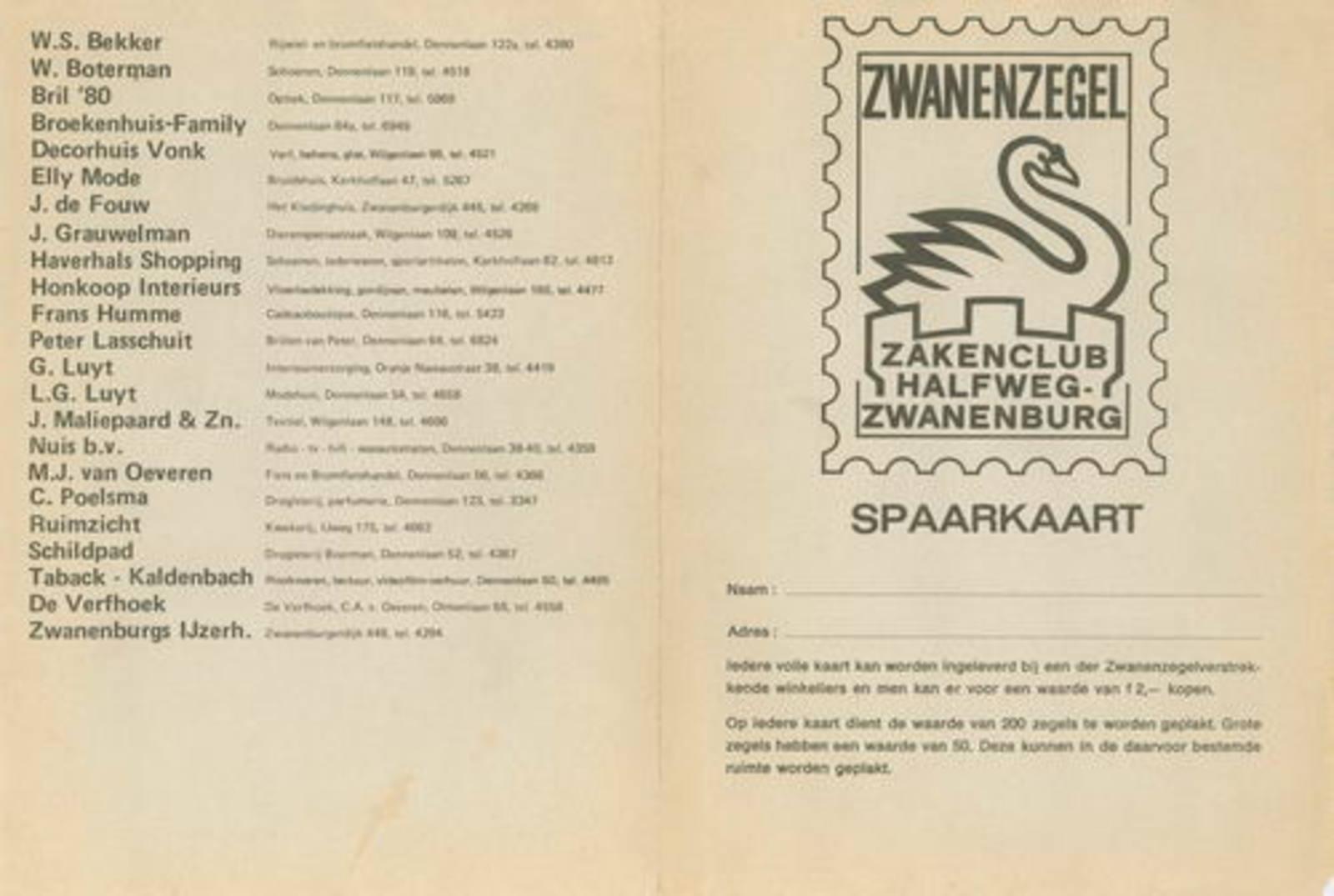 Zwanenburg Zakenclub 19__ Spaarkaart Zwanenzegels 01