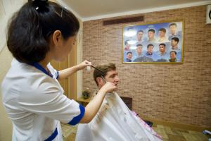 Marcel getting an approved haircut.