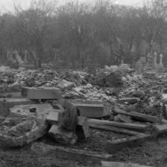 Bomb Damage in Harton Cemetery