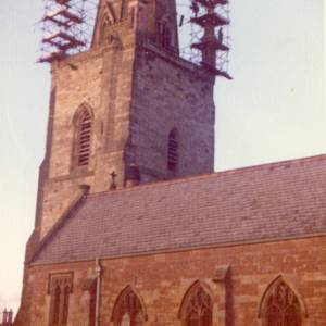 CJS047 Scaffolding on St Marys Church spire, Ross-on-Wye, c.1970s.jpg
