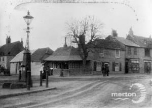 Village pump and Collbran's butchers shop, Fair Green