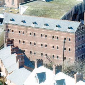 Gwynne Street Warehouse, Hereford, aerial view, c1990
