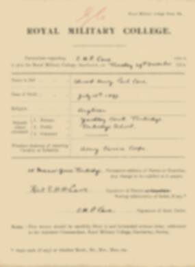 RMC Form 18A Personal Detail Sheets Jan 1915 Intake - page 70