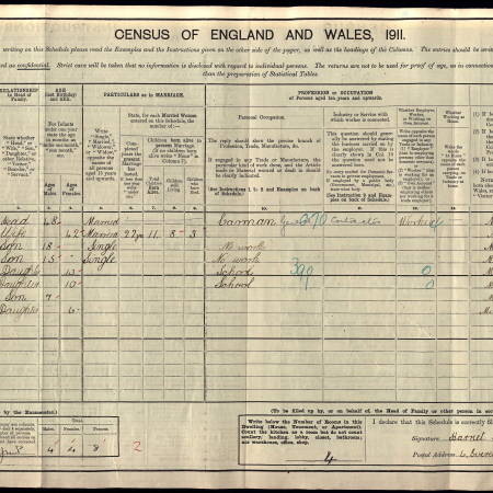 1911 Census - 6 Everett's Place, Phipps Bridge, Merton