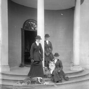 G36-220-05 Three ladies and dogs on the steps of The Weir [same as G36-220-01].jpg