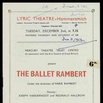 Lyric Theatre, Hammersmith, London, December 1952
