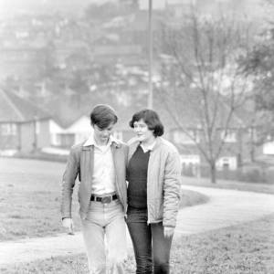 Yvonne Brown and Peter Rutherford walking in Churchill Gardens, Hereford.