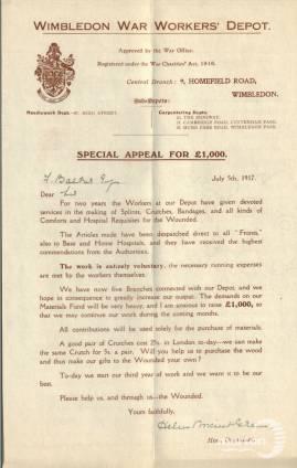 Special Appeal Letter - Wimbledon War Worker's Depot