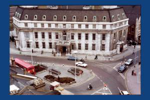 Aerial view over Broadway, Wimbledon Town Hall