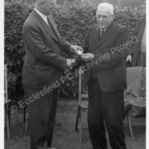 Grenoside Pensioners Garden Party with Councillor Pallett presenting 5 shilling piece to William Jackson